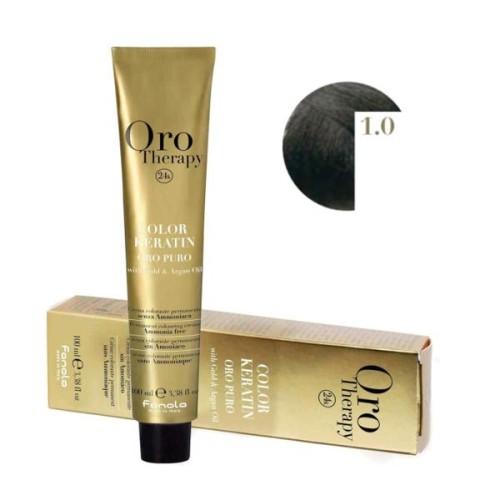 Vopsea fara amoniac - Fanola Oro Therapy Color Keratin - 1.0 negru