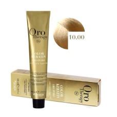 Vopsea fara amoniac - Fanola Oro Therapy Color Keratin - 10.00 blond platinat intens, 100ml