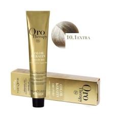 Vopsea fara amoniac - Fanola Oro Therapy Color Keratin-10.1 blond platinat cenusiu extra