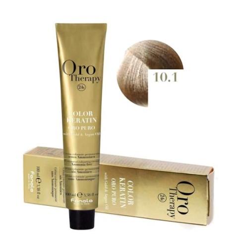 Vopsea fara amoniac - Fanola Oro Therapy Color Keratin - 10.1 blond platinat cenusiu 100 ml