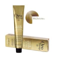 Vopsea fara amoniac - Fanola Oro Therapy Color Keratin - 10.3 blond platinat auriu extra