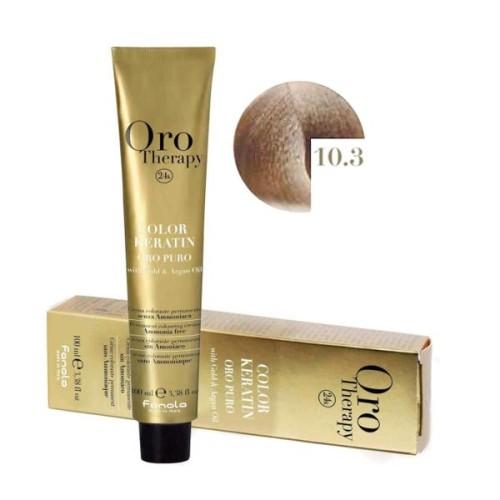 Vopsea fara amoniac - Fanola Oro Therapy Color Keratin - 10.3 blond platinat auriu