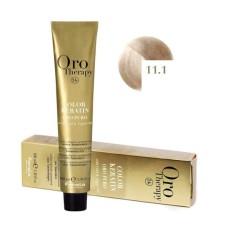 Vopsea fara amoniac - Fanola Oro Therapy Color Keratin - 11.1 blond foarte deschis platinat cenusiu 100 ml