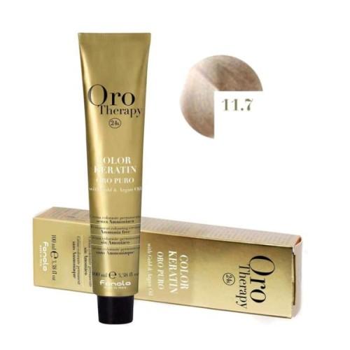Vopsea fara amoniac - Fanola Oro Therapy Color Keratin -11.7 blond foarte deschis perlat irise