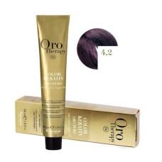 Vopsea fara amoniac - Fanola Oro Therapy Color Keratin - 4.2 castaniu violet