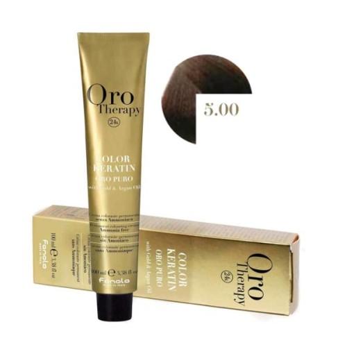Vopsea fara amoniac - Fanola Oro Therapy Color Keratin - 5.00 castaniu deschis intens