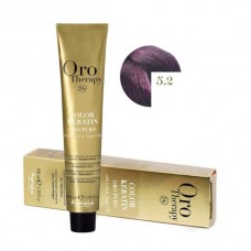 Vopsea fara amoniac - Fanola Oro Therapy Color Keratin - 5.2 castaniu deschis violet