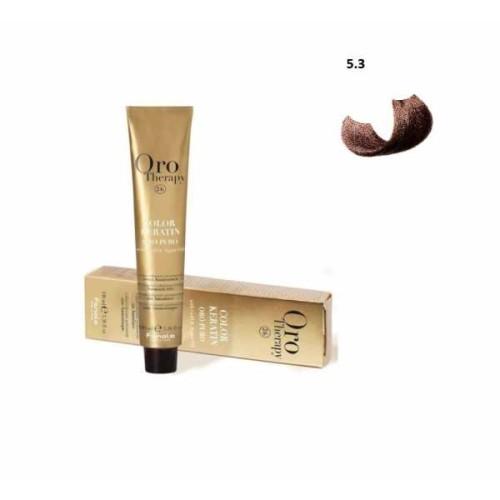 Vopsea fara amoniac - Fanola Oro Therapy Color Keratin - 5.3 castaniu deschis auriu