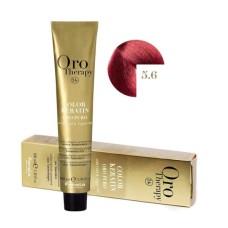 Vopsea fara amoniac - Fanola Oro Therapy Color Keratin - 5.6 castaniu deschis roscat