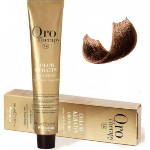 Vopsea fara amoniac- Fanola Oro Therapy Color Keratin - 6.3 blond inchis auriu 100 ml