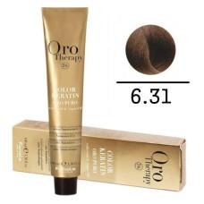 Vopsea fara amoniac - Fanola Oro Therapy Color Keratin- 6.31 blond inchis nisipiu