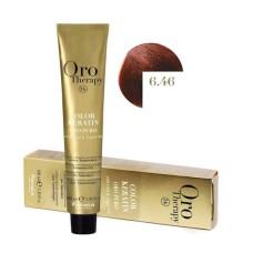 Vopsea fara amoniac - Fanola Oro Therapy Color Keratin - 6.46 blond inchis aramiu rosu