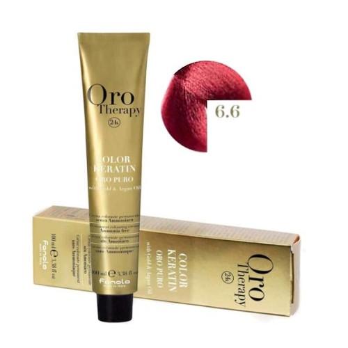 Vopsea fara amoniac - Fanola Oro Therapy Color Keratin - 6.6 blond inchis roscat
