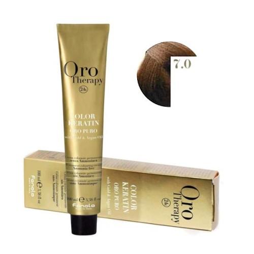 Vopsea fara amoniac - Fanola Oro Therapy Color Keratin - 7.0 blond