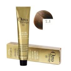 Vopsea fara amoniac - Fanola Oro Therapy Color Keratin - 7.1 blond cenusiu