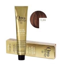 Vopsea fara amoniac - Fanola Oro Therapy Color Keratin -7.34 blond auriu aramiu