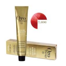 Vopsea fara amoniac - Fanola Oro Therapy Color Keratin -7.606 blond rosu aprins