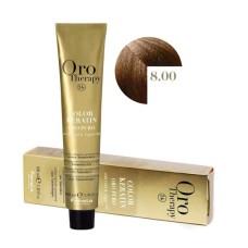 Vopsea fara amoniac - Fanola Oro Therapy Color Keratin - 8.00 blond intens deschis