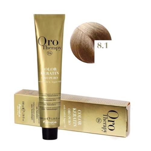 Vopsea fara amoniac - Fanola Oro Therapy Color Keratin - 8.1 blond deschis cenusiu