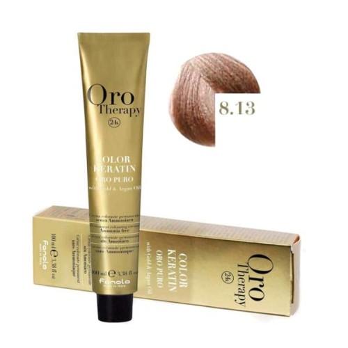Vopsea fara amoniac - Fanola Oro Therapy Color Keratin - 8.13 blond deschis bej