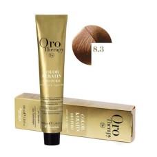 Vopsea fara amoniac - Fanola Oro Therapy Color Keratin - 8.3 blond deschis auriu