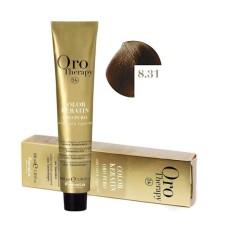 Vopsea fara amoniac - Fanola Oro Therapy Color Keratin - 8.31 blond deschis nisipiu 100 ml