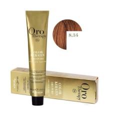 Vopsea fara amoniac - Fanola Oro Therapy Color Keratin -8.34 blond deschis aramiu auriu