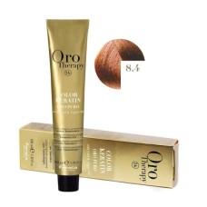 Vopsea fara amoniac - Fanola Oro Therapy Color Keratin -8.4 blond intens aramiu