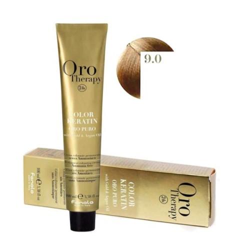 Vopsea fara amoniac - Fanola Oro Therapy Color Keratin 9.0 blond foarte deschis