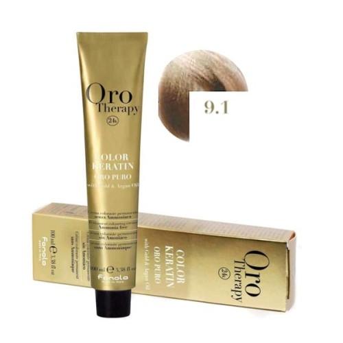 Vopsea fara amoniac - Fanola Oro Therapy Color Keratin - 9.1 blond foarte deschis cenusiu 100 ml