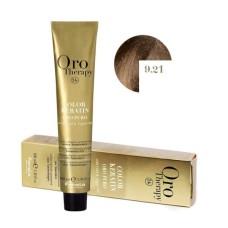 Vopsea Permanenta fara Amoniac Fanola Oro Therapy Color Keratin 9.21 Blond Foarte Deschis Violet Cenusiu, 100ml