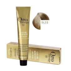 Vopsea fara amoniac - Fanola Oro Therapy Color Keratin - 9.31 blond foarte deschis nisipiu