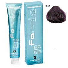 Vopsea de par Fanola castaniu violet 4.2 Uz Profesional 100 ml