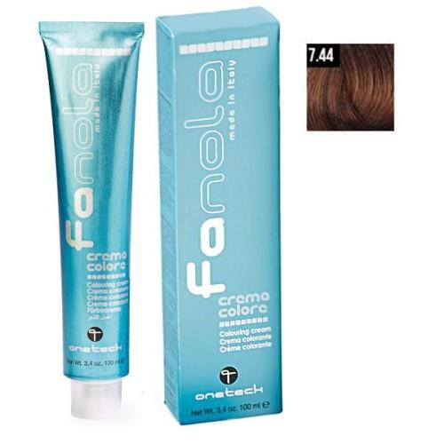 Vopsea De Par Blond Aramiu Intens 7.44 Fanola, Uz Profesional, 100 ml